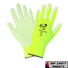 PUG Work Gloves Hi-Vis Lime Ultra-Thin PU Palm Coated Multi-Purpose 12 Pairs