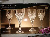 "GODINGER Cut Lead Crystal Shannon ""Dublin""  Wine Goblets Glasses - Set of 4"