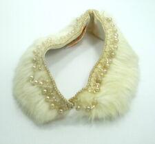 "Vintage GLENTEX Japanese RAYON Faux RABBIT FUR Pearl 15"" Necklace Lining Collar"