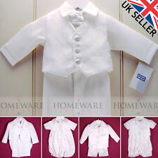 BABY BOYS CHRISTENING BAPTISM SUIT OUTFIT CHRISTENING ROMPER WHITE NEW ALL SIZES