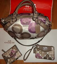 ~COACH Madison Clover Sateen Signature Sophia Satchel/Bag w/Wallet/Wristlet RARE