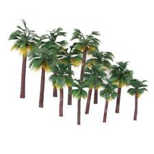 Painted Plastic Green Palm Tree Model Tropical Beach Scenery Set of 12pcs