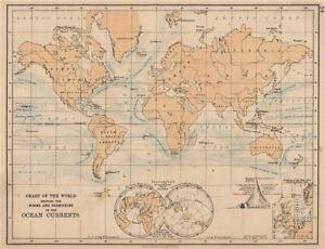 WORLD OCEAN CURRENTS. Shows progress of North Sea tidal wave. JOHNSTON 1906 map