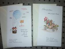 2 Karten zur Vermählung Hochzeit, Glückwunschkarten 50/60er J., Hochzeitskarte