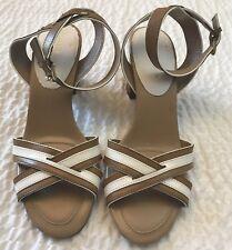 Tommy Hilfiger Women's Size 10 Fierce 2 Heels Block Buckle Tan White Open Toe