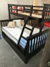 Bunk Bed Double Single Timber  Trio Kids Choc Or White With 2 X Drawers  New