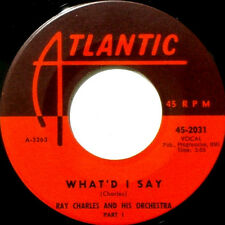"""RAY CHARLES~"""" WHAT'D I SAY ( PT.1 & 2 ) ATL. 2031~1959 """"VG+~""""FREE S/H""""~ 45!!!"""