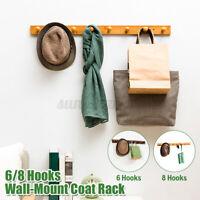 Wood Bamboo Coat Robe Hat Clothes Wall Mount Hanger 6 Hooks Towel Rack Storage