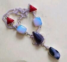 OPALITE RED CORAL MOSS AGATE GEMSTONE .925 SILVER NECKLACE FASHION JEWELLRY