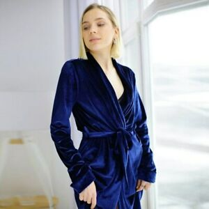 Knitted Long Sleepwear Solid Robe with Sashes Elegant Casual Female Nightwear