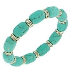 Light Blue Turquoise White Crystals Beaded Stretch Cord Womens Bracelet