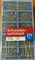 Schraubensortiment 211St. in Kasten versch. Größen verzinkt Assortment of screws