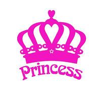 Princess Crown Vinly Decal Cute Car Truck Window Bumper Girl Love Laptop Sticker