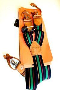 MAGNANNI Men's Stripe Suspenders Stripes  Brown Leather Medium new  ..
