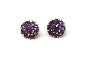 A Pair of Vintage 9ct Yellow Gold BKT Design Amethyst Cluster Stud Earrings #26
