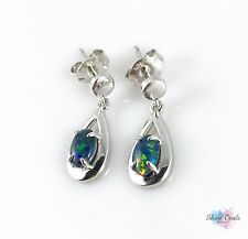 Australian Genuine Opal Earrings 6x4mm 925 Sterling Silver Rain Drop / Jewelry