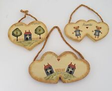 Set of 3 Miss Prissy's Heart Shaped Wood Wall Decorations 1986