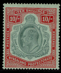 NYASALAND PROTECTORATE EDVII SG80, 10s green & red/green, M MINT. Cat £225.