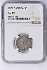 1929 Canada 5 Cents NGC AU 55  Witter Coin