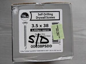 TIMco Self Drilling Drywall Screws Zinc Plated Phillips Bugle Head 38mm (500 pc)