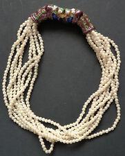 Collier avec perles et émail fermoir en forme de lion panthère Inde