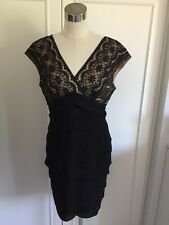 Adrianna Papell Black Beige Lace Layered Evening Dress, US 12 PETITE / UK 14