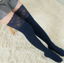 Women's Lace Over-the-Knee Socks Thigh High Cotton Warm Stockings