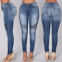 Women's High Waist Denim Pants Slim Pencil Trousers Stretch Ripped Skinny Jeans