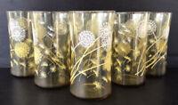 "Vintage Retro Dandelion Glass Tumblers 5"" Set of 6"