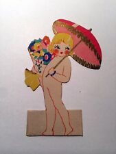 Vintage Bridge Game Tally Place Card -- Nude Lady w/ Deco Flowers and Parasol