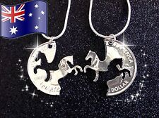 2PC Best Friends Charm Horse Pendant 925 Sterling Silver Chain Necklace BFF Gift