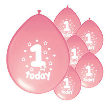 "40 X 1ST BIRTHDAY GIRL BALLOONS ""1 TODAY"" FIRST BIRTHDAY BALLOONS PINK"