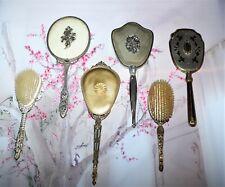 Vintage Hand Held Vanity Mirrors and brushes -Set