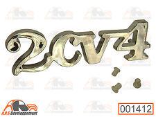 MONOGRAMME CHROME NEUF + 3 fixations pour coffre / malle de Citroen 2CV4  -1412-