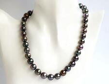 "18"" 10-12mm natural Tahitian genuine black multicolor pearl necklace 14k"