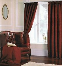 DAMASK JACQUARD 66 x 72 READY MADE LINED PENCIL PLEAT CURTAINS WINE BURGUNDY