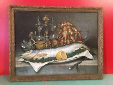 Ancienne CHROMO LITHOGRAPHIE fin XIXe NATURE MORTE au SAUMON signée AS SAUVAGE