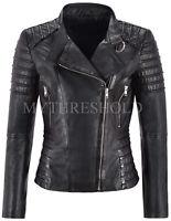 Brand New Ladies Black Lambskin Leather Jacket Classic Biker Style Waxed