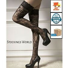 Black Sheer Lace Top Thigh High Stockings Hosiery Medium New - SEXY