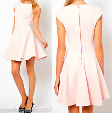 Summer Party Club Casual Wear to Work Metal Zip back Flared Skater Dress LARGE