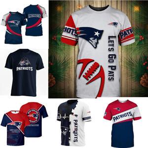New England Patriots Short Sleeve T-Shirts Football Summer Casual Crew Neck Tee