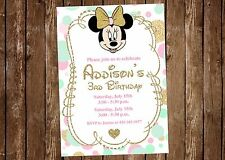 Minnie Mouse, Pink, Gold, Mint, Birthday Party Invitation