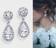Clear Crystal Swarovski Element Tear Drop Dangle Wedding Bridal Silver Earrings