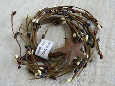 """Rusty Stars PATRIOTIC Pip Berry 2.5"""" Candle Wreath Primitive Country Home Decor"""