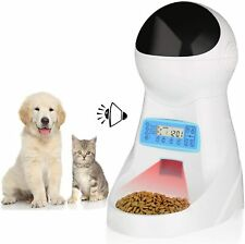 amzdeal Automatic Cat Feeder Pet Feeder Cat Food Dispenser 4 Meals A Day with Ti