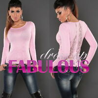 Sexy Women's Lace Diamante Jumper Top Sweater Pullover Size 10 12 Knitwear M L