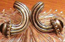 New VTG Clip On Earring Silver Pewter Gold Plate Black Onyx Cabachon Cornucopia