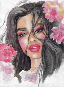 original painting 20 x 28 cm 76RK art Colored Pencil, watercolor female portrait