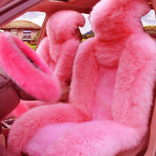 5Pcs/Set Pink Fur Fluffy Thick Car Steering Wheel Cover+2 Front Car Seat Cover
