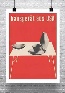 MCM Mid Century Modern Home Decor Red Exhibition Poster Canvas Giclee Print